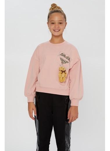 Little Star Little Star Kız Çocuk Baskılı Sweatshirt Pudra